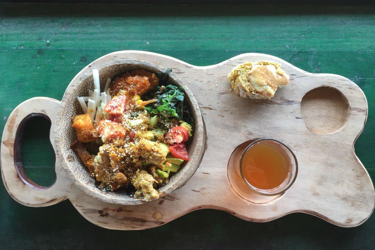 Vegan meal at Bali Silent Retreat