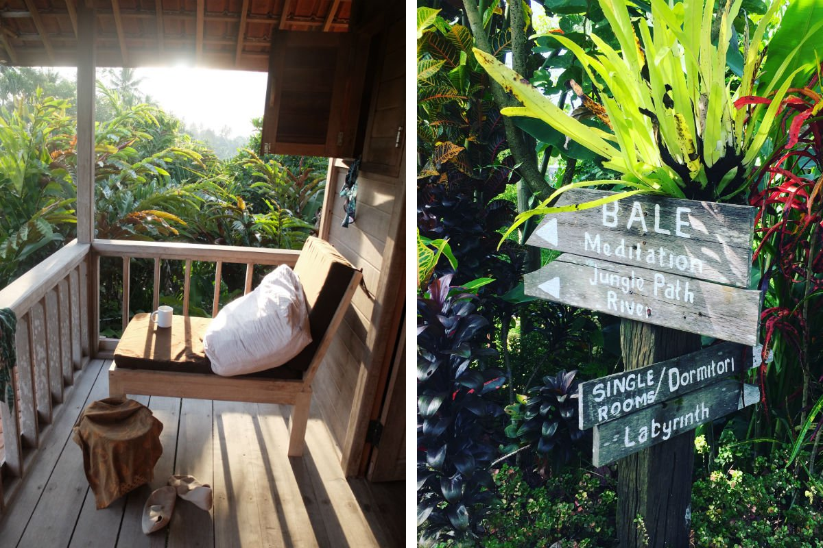 Bali Silent Retreat Cabin and signs