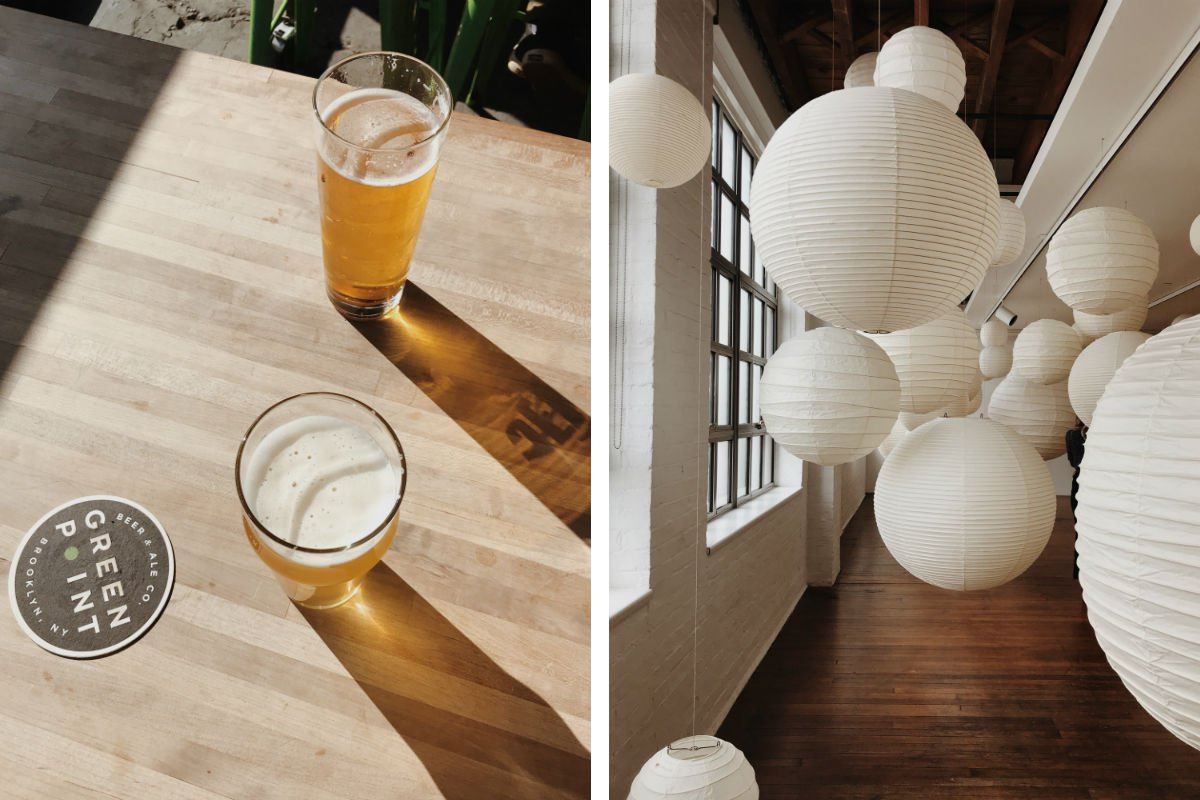 Greenpoint brewery and an installation at Noguchi, Brooklyn.