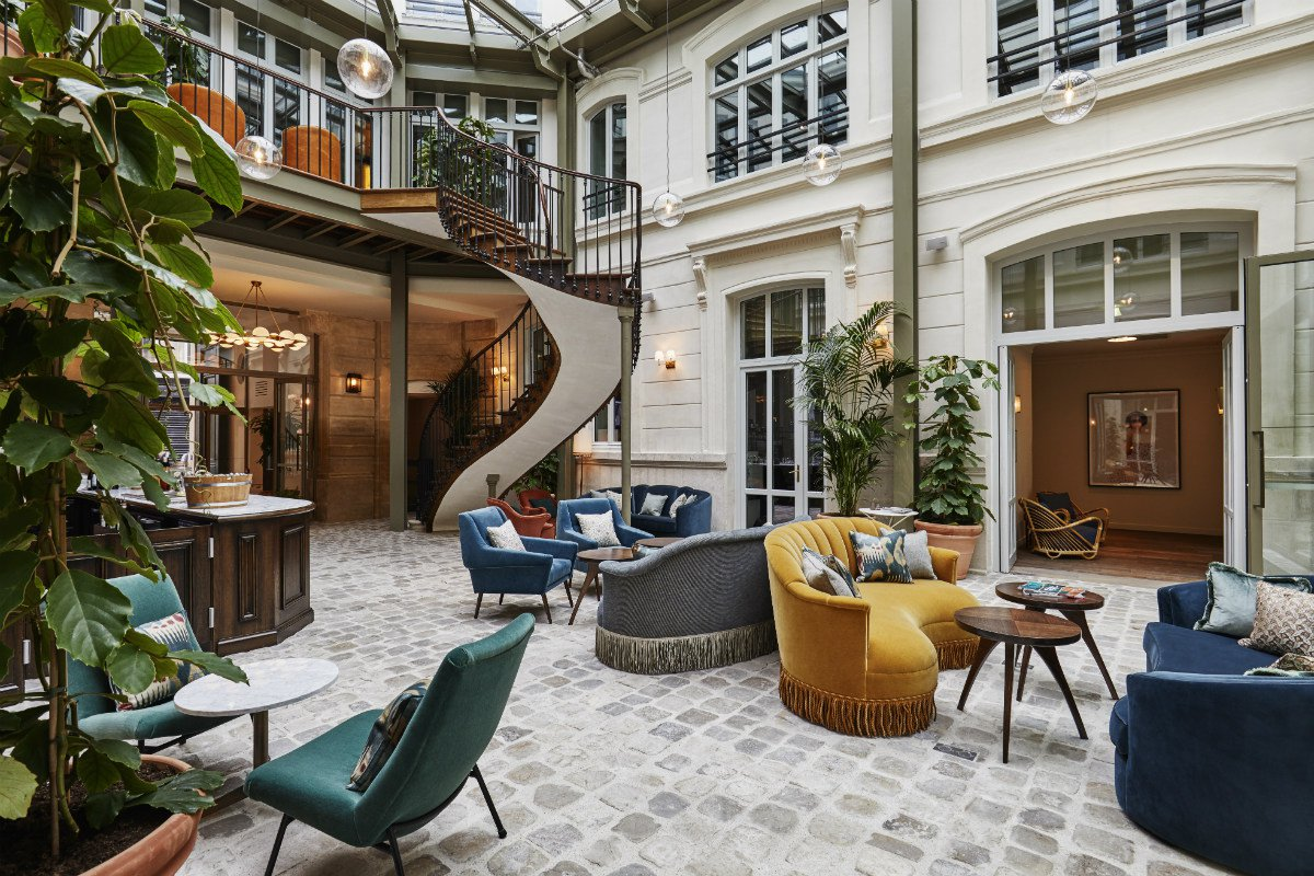 Hoxton Paris courtyard lobby