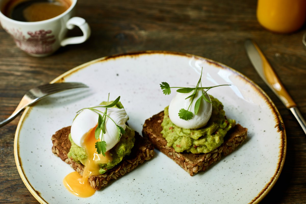 Avocado toast and a poached egg served at Artist Residence London