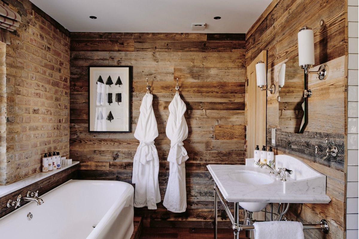 Loft room bathroom at Artist Residence London
