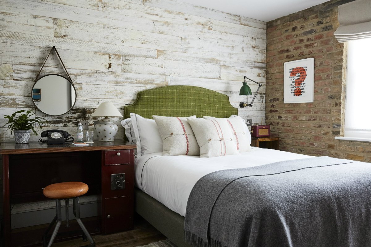 Interior of a small  guest room at Artist Residence London