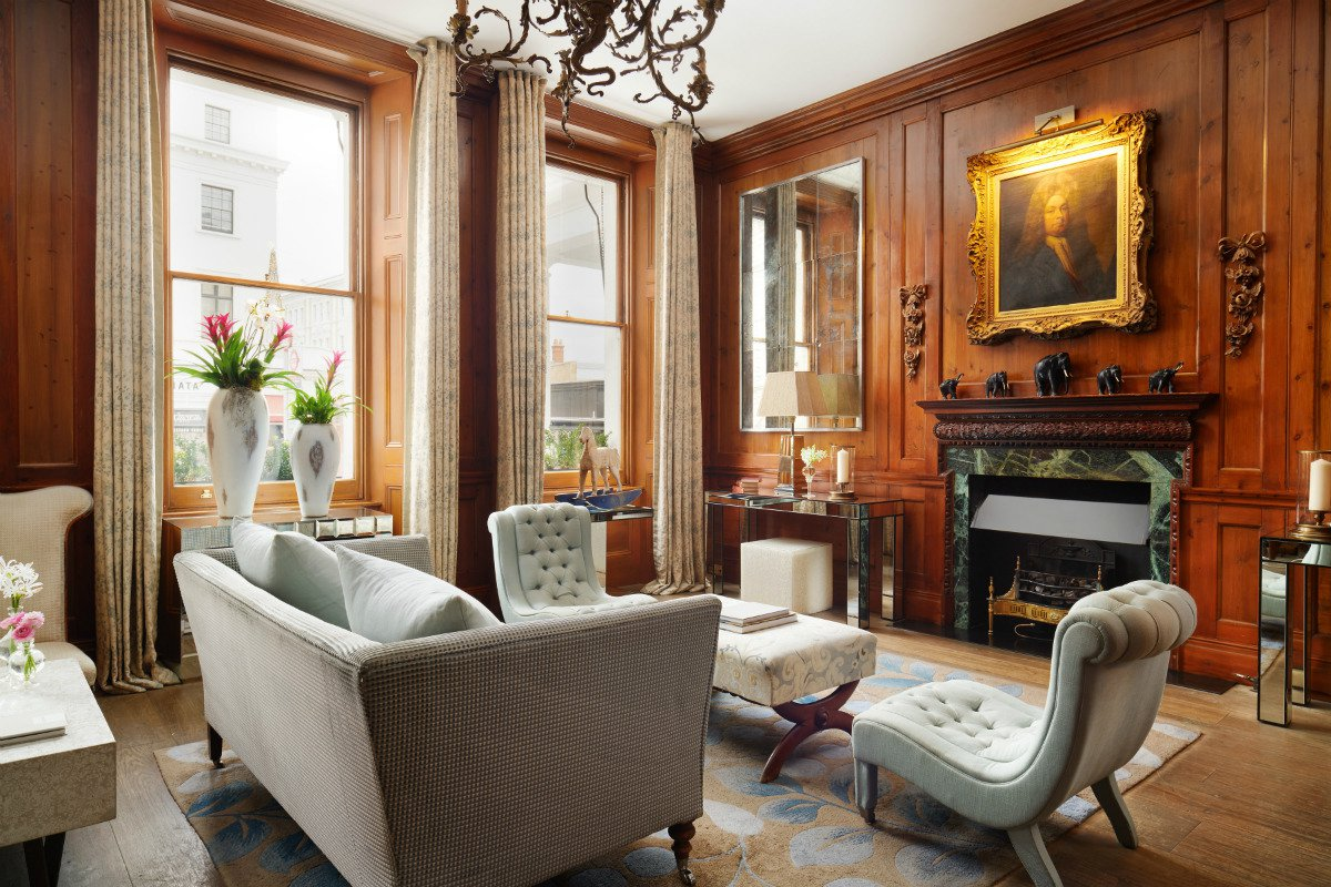 Interior of the drawing room common space at at The Pelham London