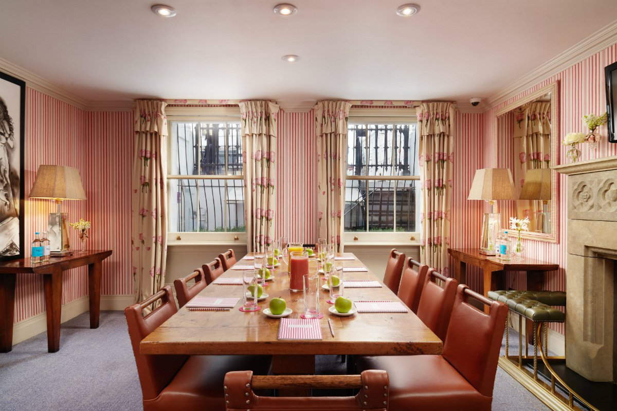 Interior of a private event space at The Pelham London