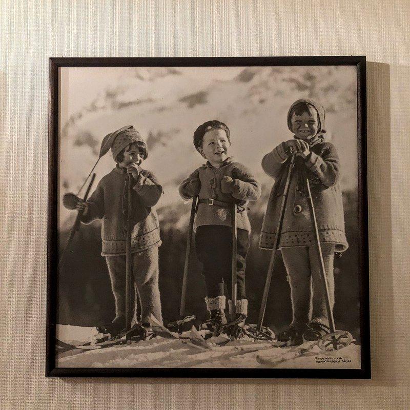 Portrait of children skiing at the Tschuggen Grand Hotel.
