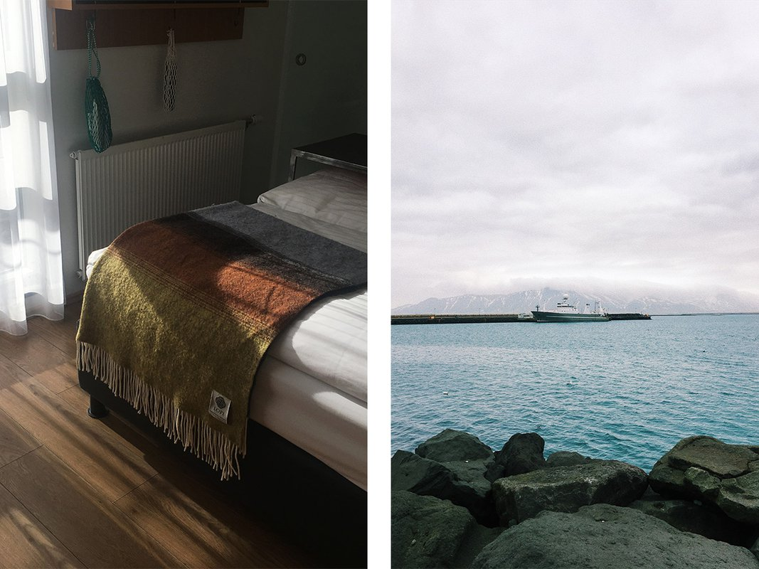 Quiet moments at the budget-friendly hotel Icelandair Marinaand misty views of the harbor.