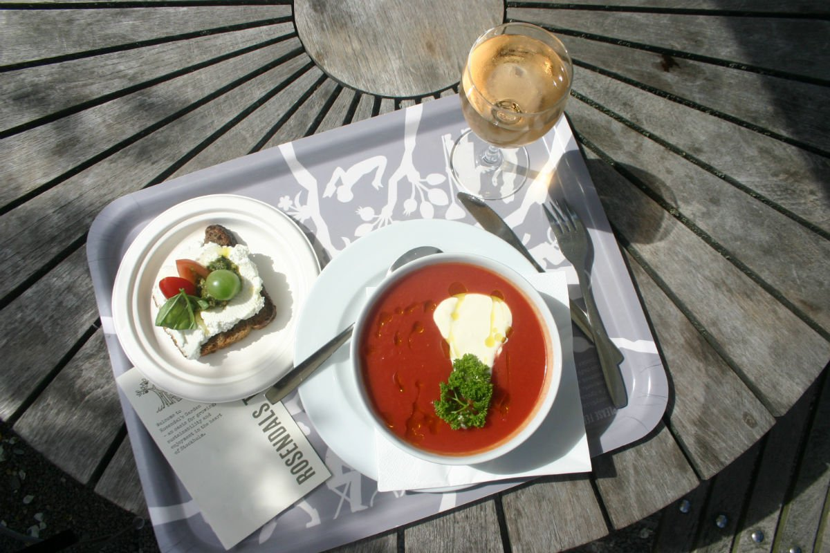 Soup, toast and wine at Rosendals Tradgar, Stockholm.