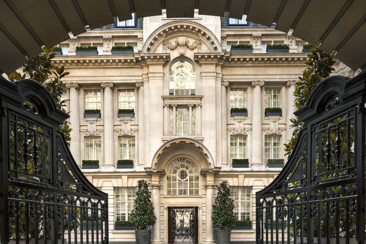 The entrance gates to Rosewood London.