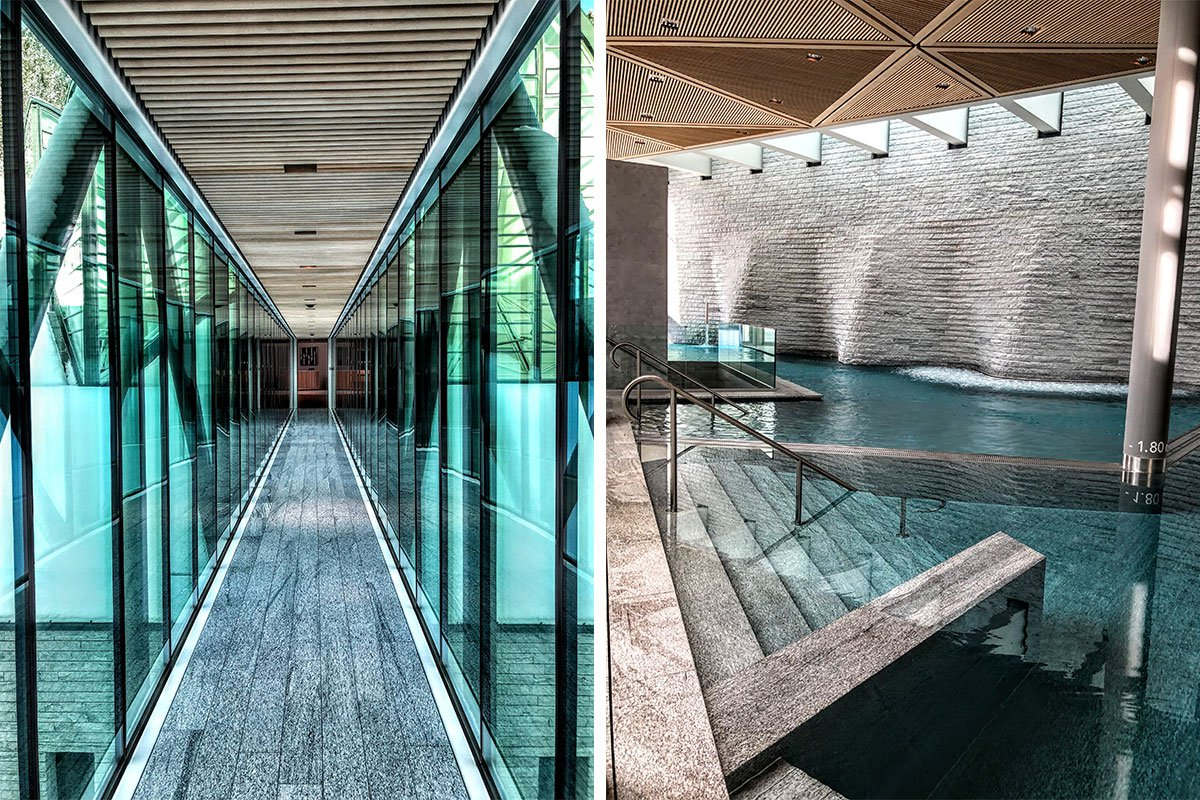 Glass pathway connecting Tschuggen Grand Hotel to spa and the spa pool.