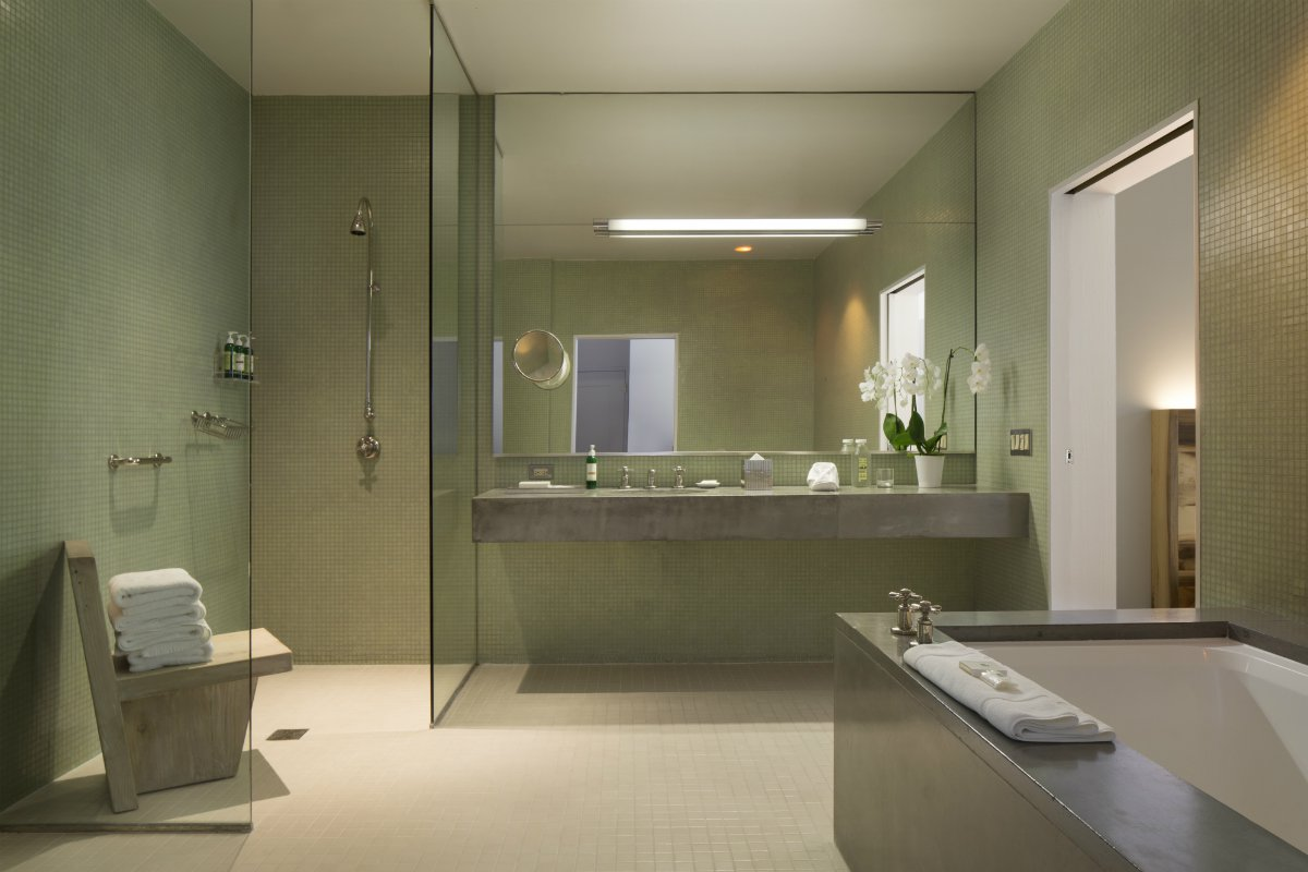 Green tiled ensuite at Hotel Healdsburg