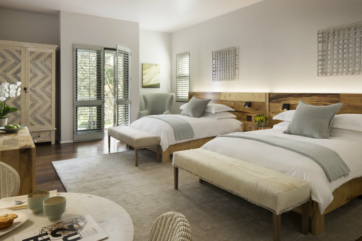 Inside a double queen guest room at Hotel Healdsburg