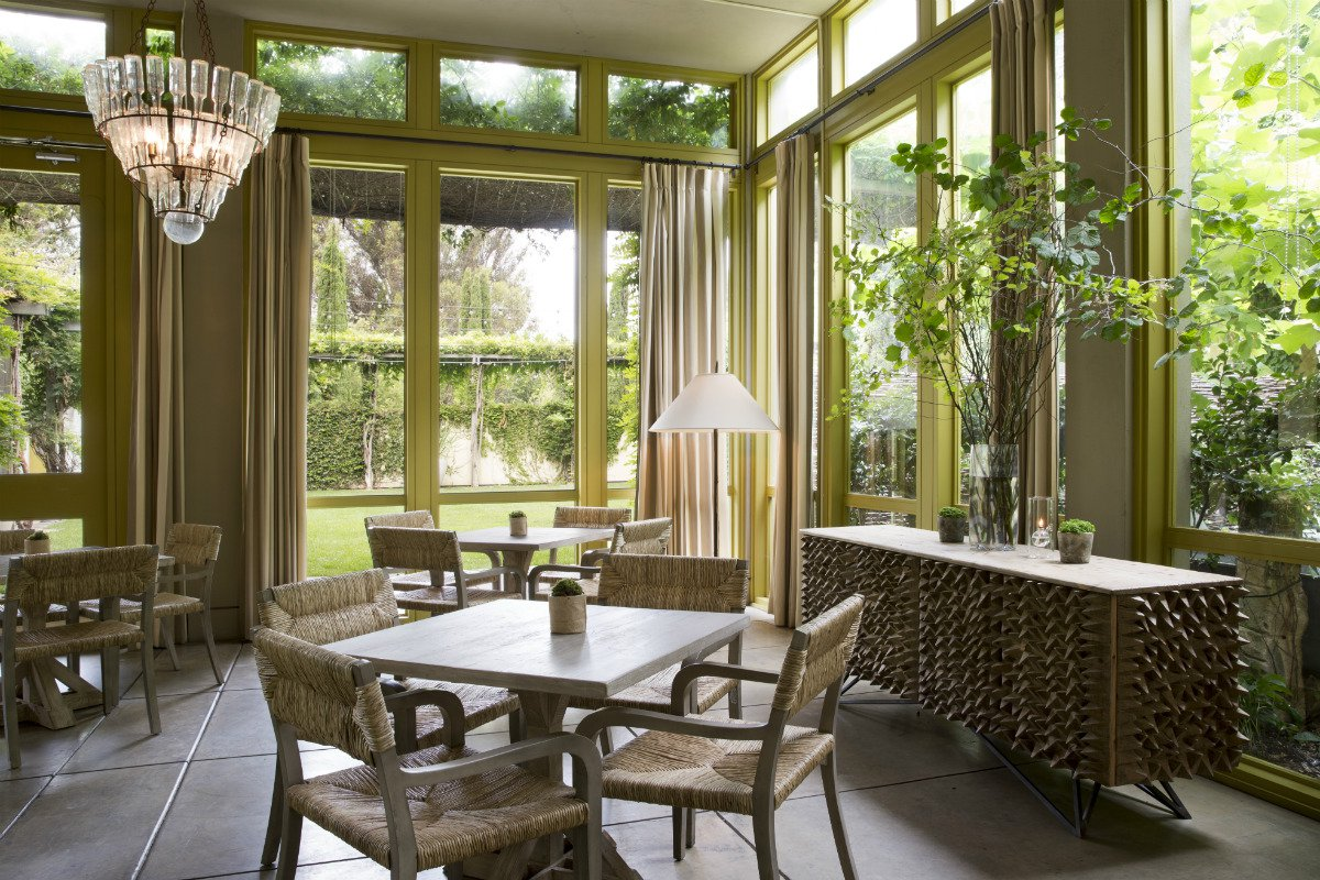 Enclosed patio seating at Hotel Healdsburg