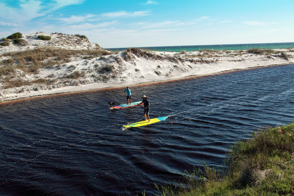 Paddleboarding on a dune lake