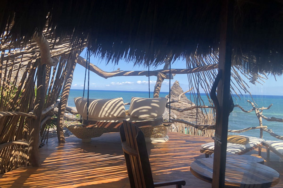 Balcony at Azulik Hotel and Maya Spa, Tulum, Mexico.