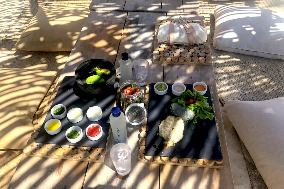 Lunch at Azulik Hotel and Maya Spa, Tulum, Mexico.
