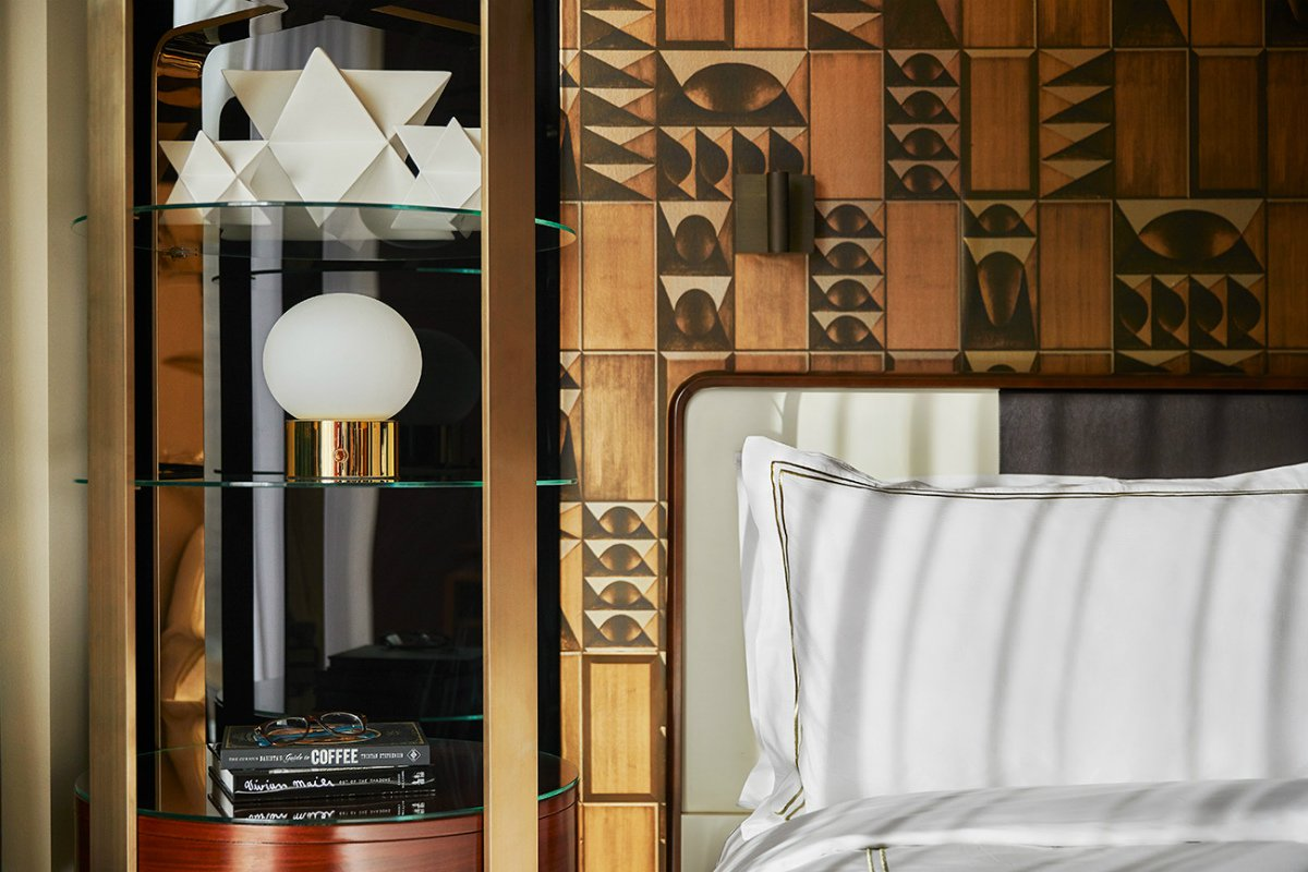 art deco design in a guestroom at Viceroy Chicago