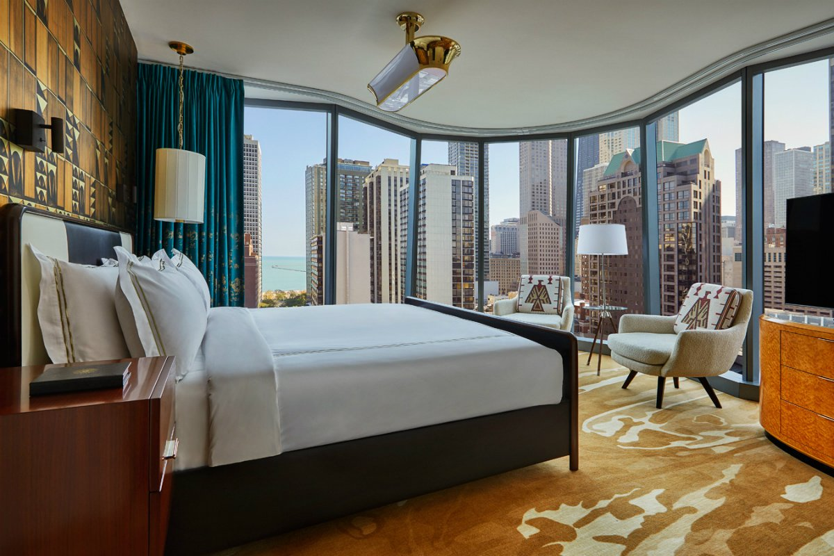 inside a guestroom at Viceroy Chicago