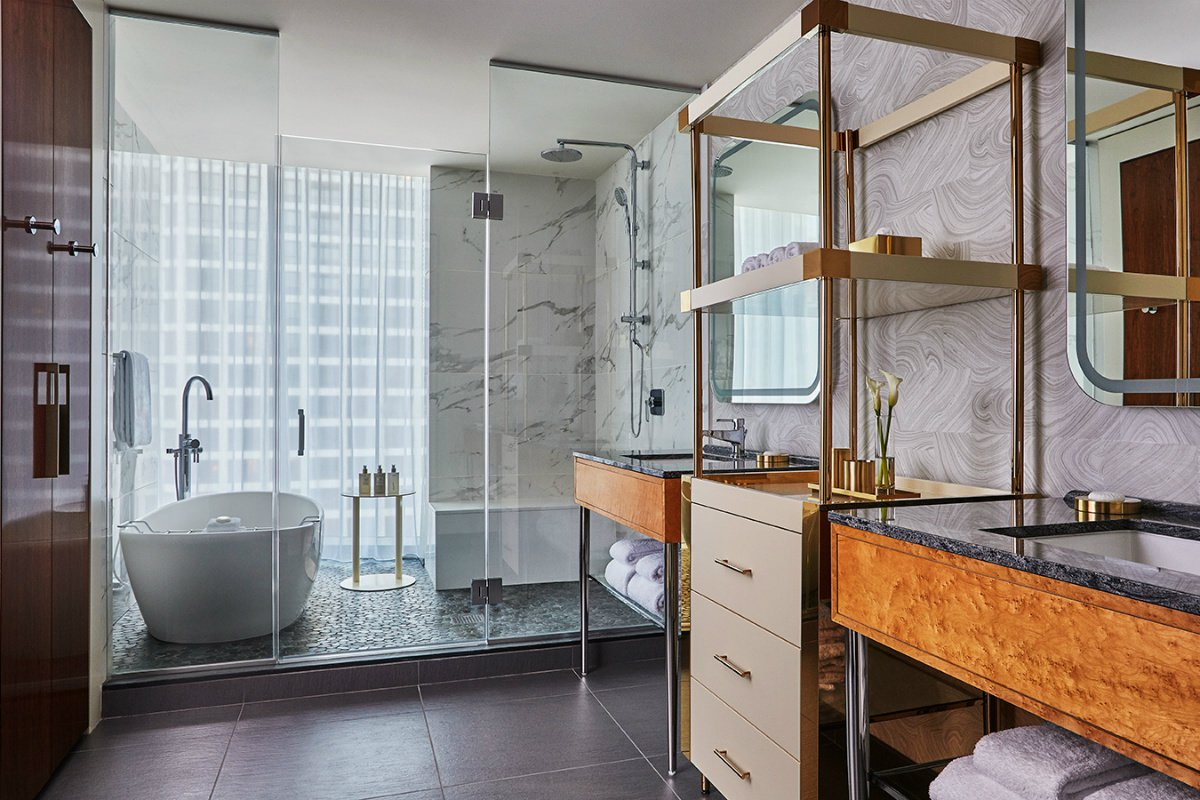 marble bathroom at Viceroy Chicago