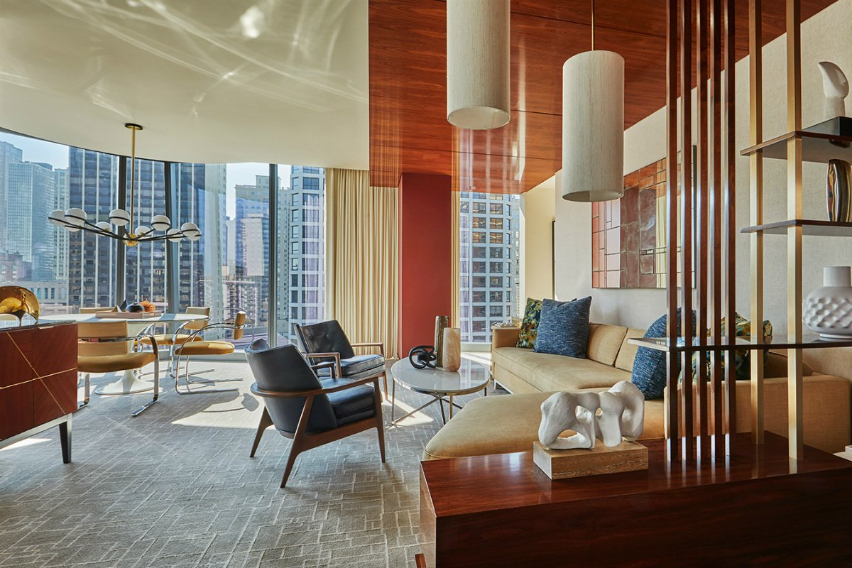 suite with city skyline view at the Viceroy Chicago