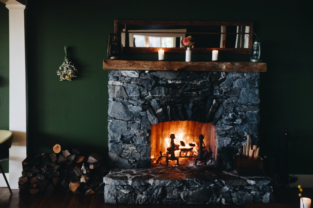 Fireplace at Willows Inn