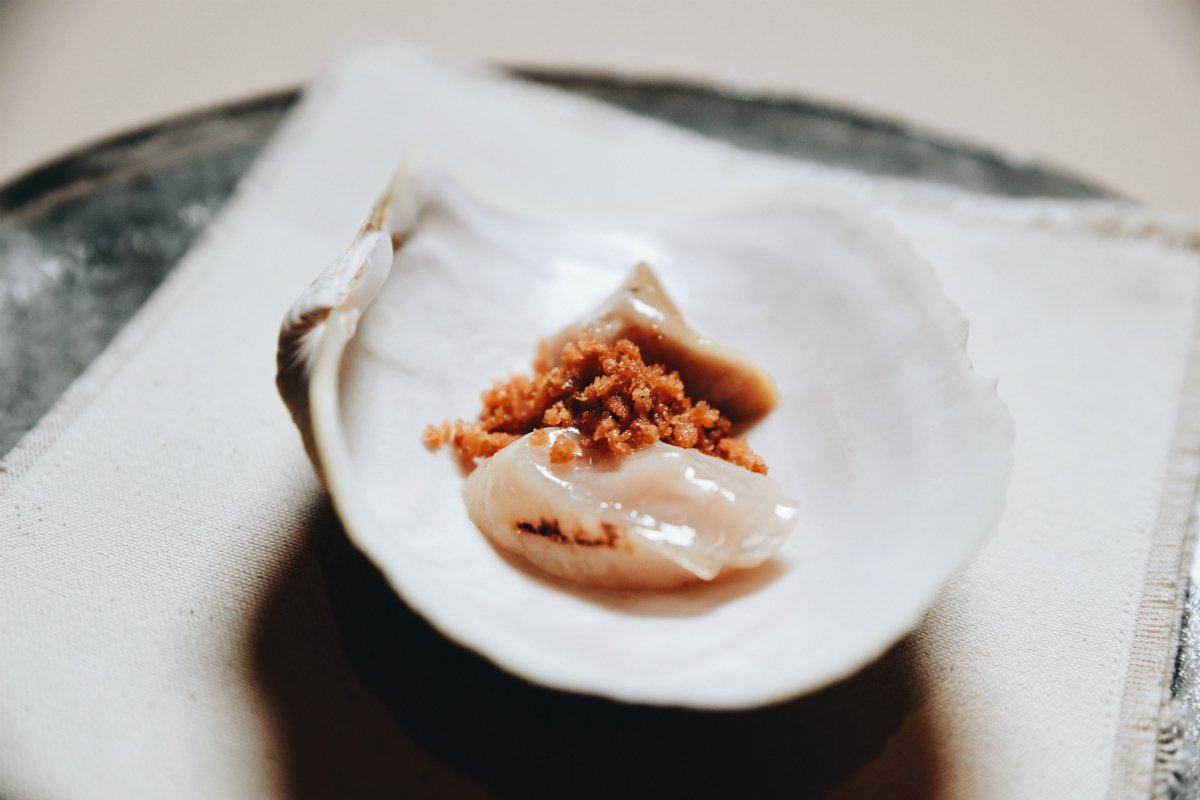 Geoduck Clam dish at The Willows Inn