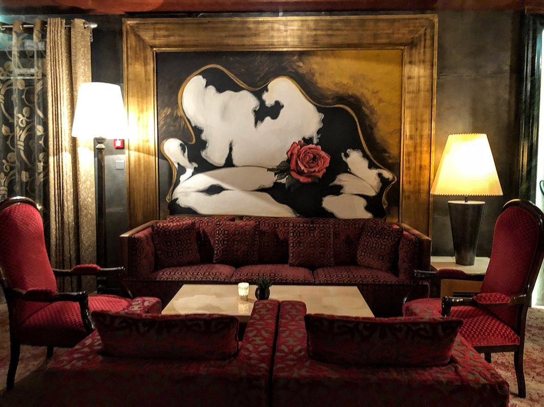 Winter sitting room in Tschuggen Grand Hotel lobby.
