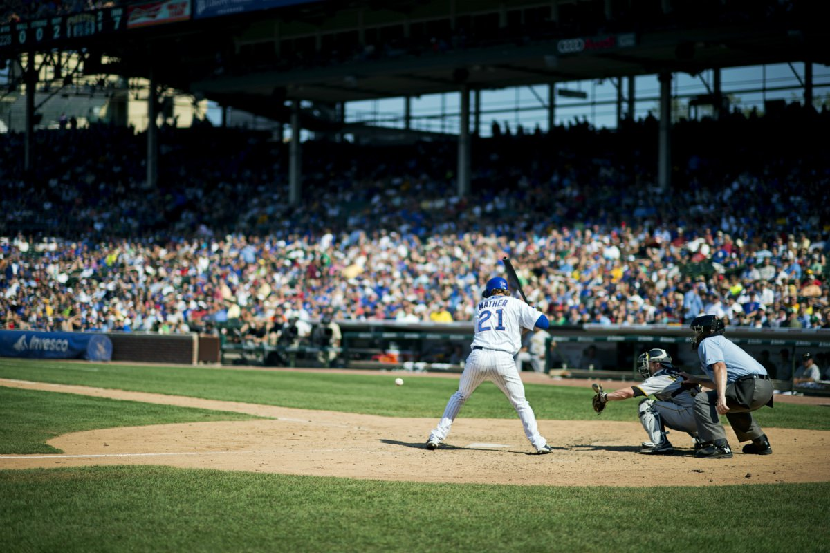 Joe Mather up at the plate at Wrigley Field