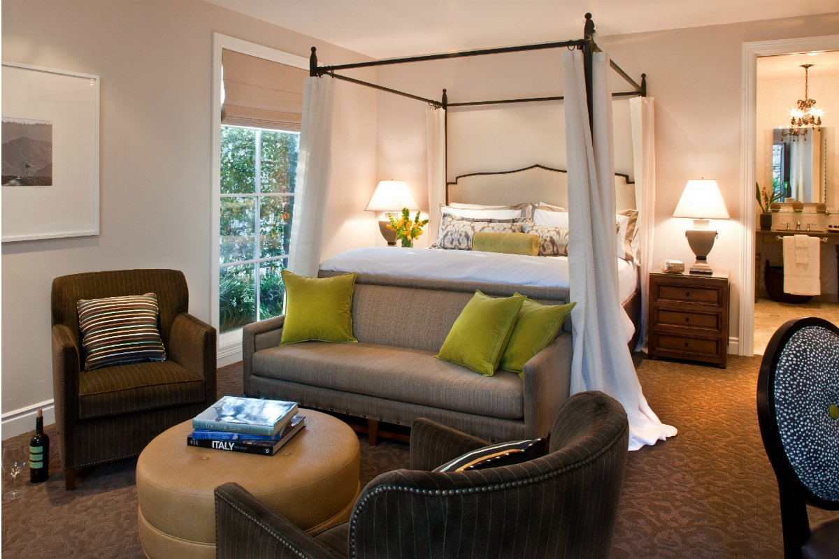 The interior of a suite at Hotel Yountville