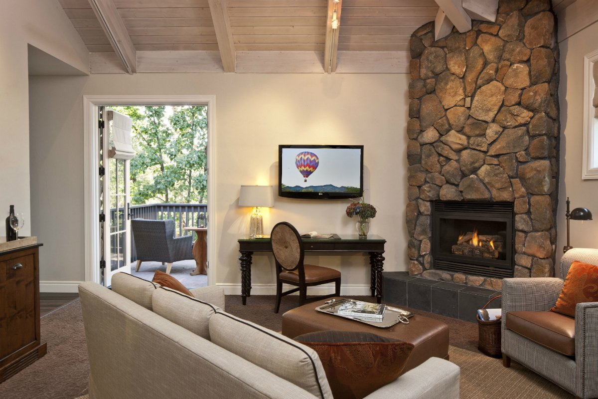 The living area of a suite at Hotel Yountville