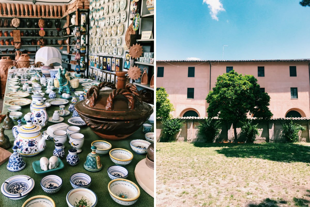 Deruta Ceramics shop (left) and Giardino Degli Aranci (right).