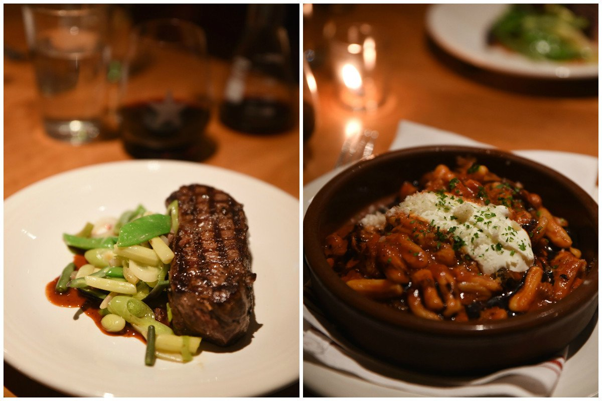 Strip steak with snap pea fricassee and spring lamb ragu with house cavatelli.