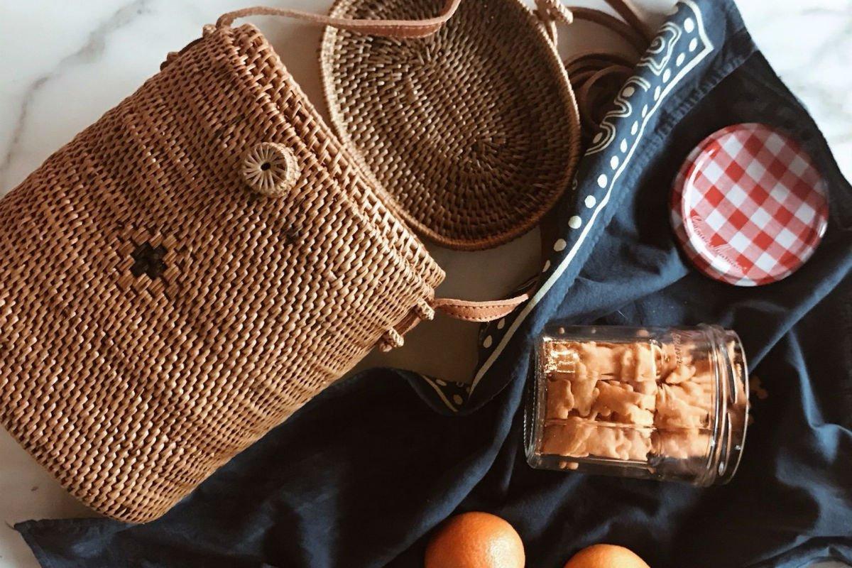Handwoven Summer Picnic Basket Bag