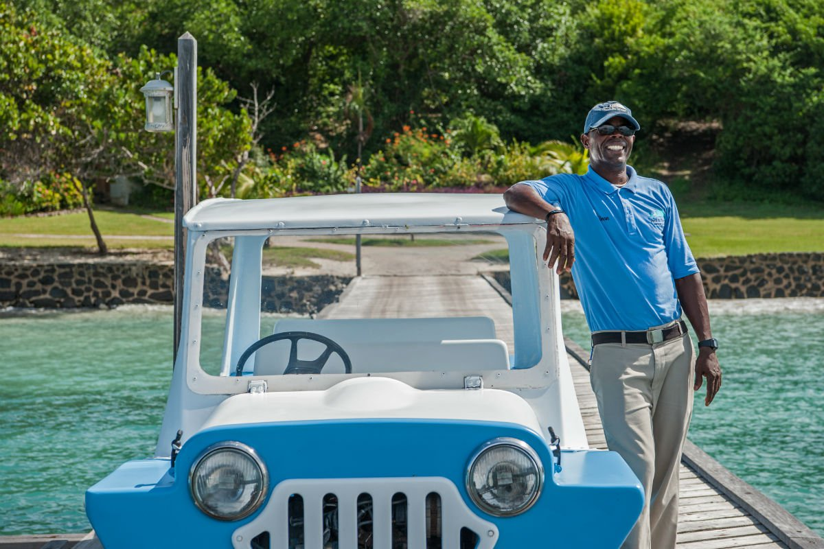 Staff drives guests around in little blue trucks. Otherwise, most people get around on foot or by boat.