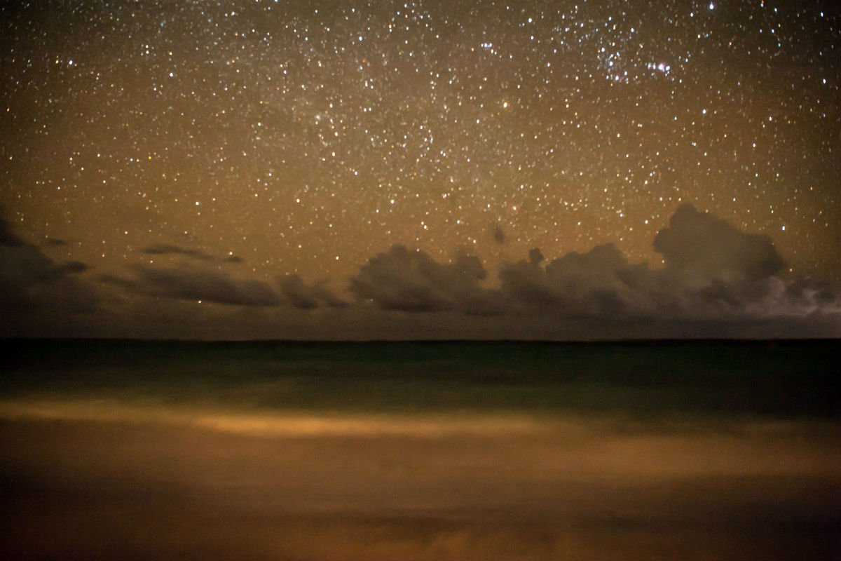 The unpolluted night sky.