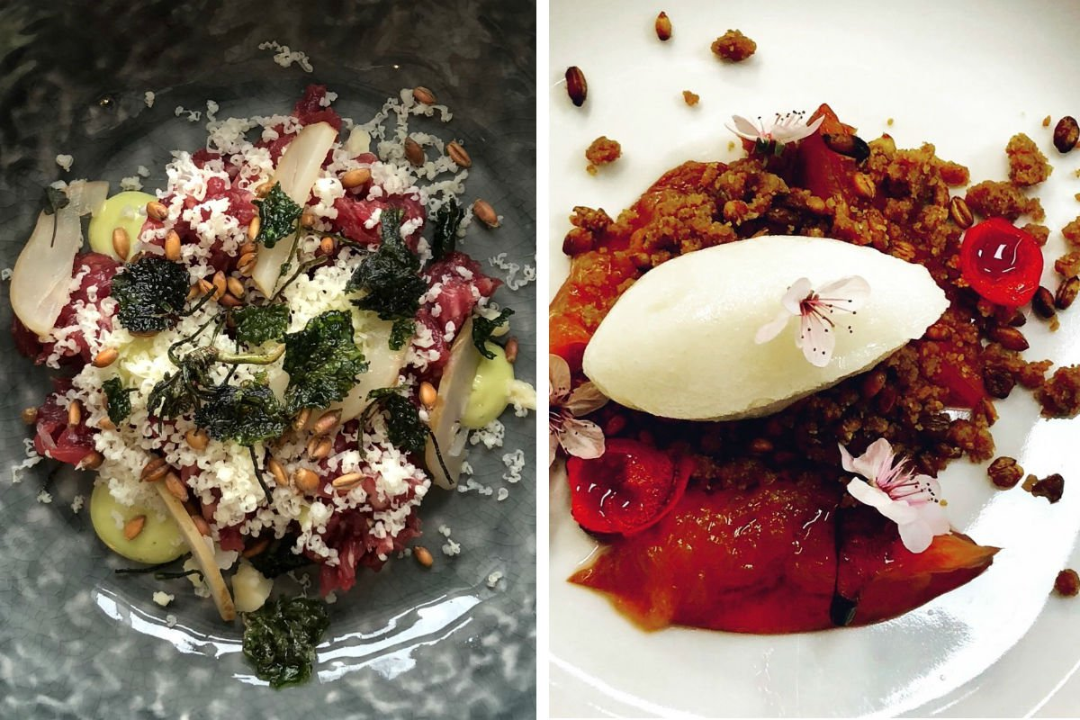 Beef Tartare, Sorbet with Roasted Cherry Blossoms