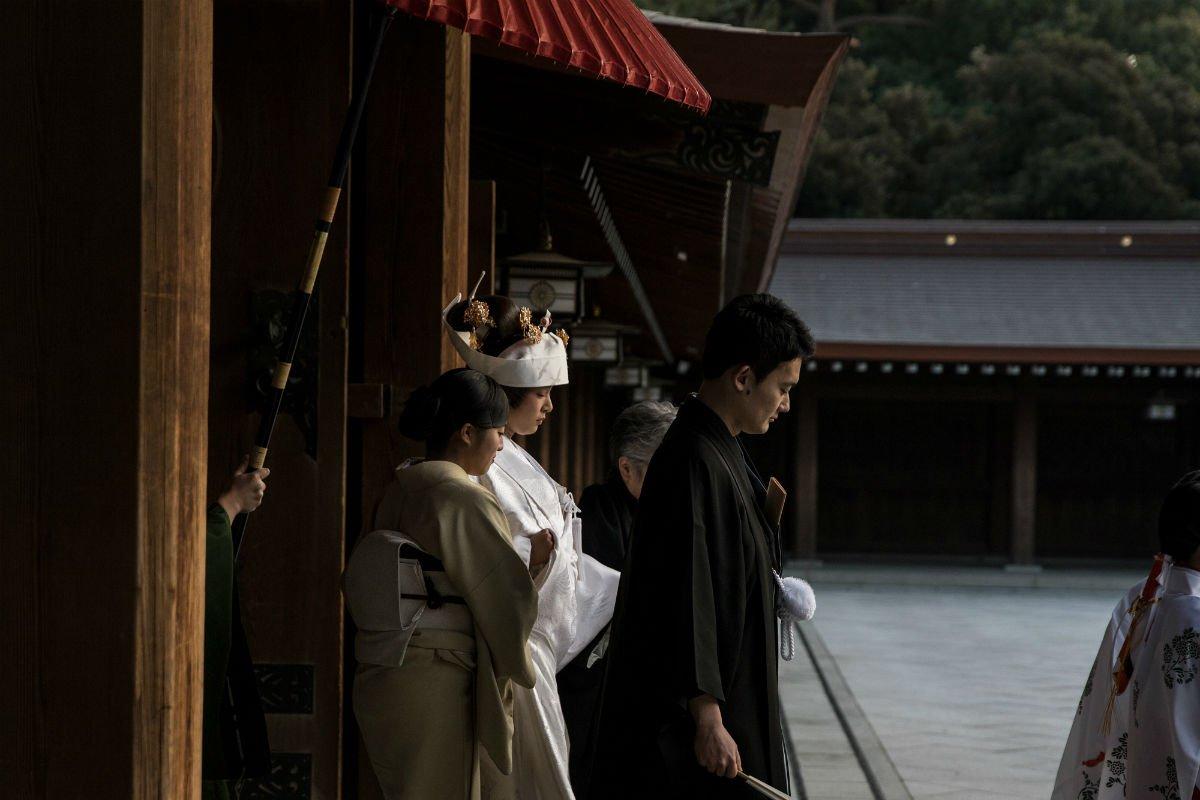 A Shinto wedding procession