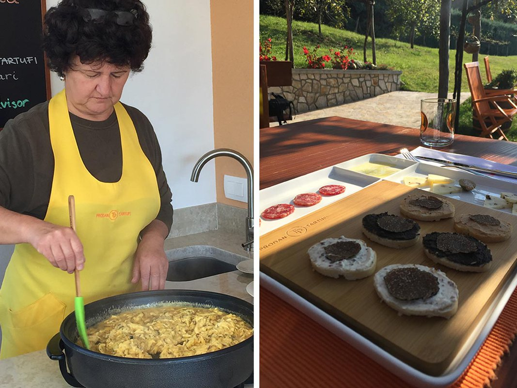 Varna cooking truffles eggs on right. Appetizers on left.