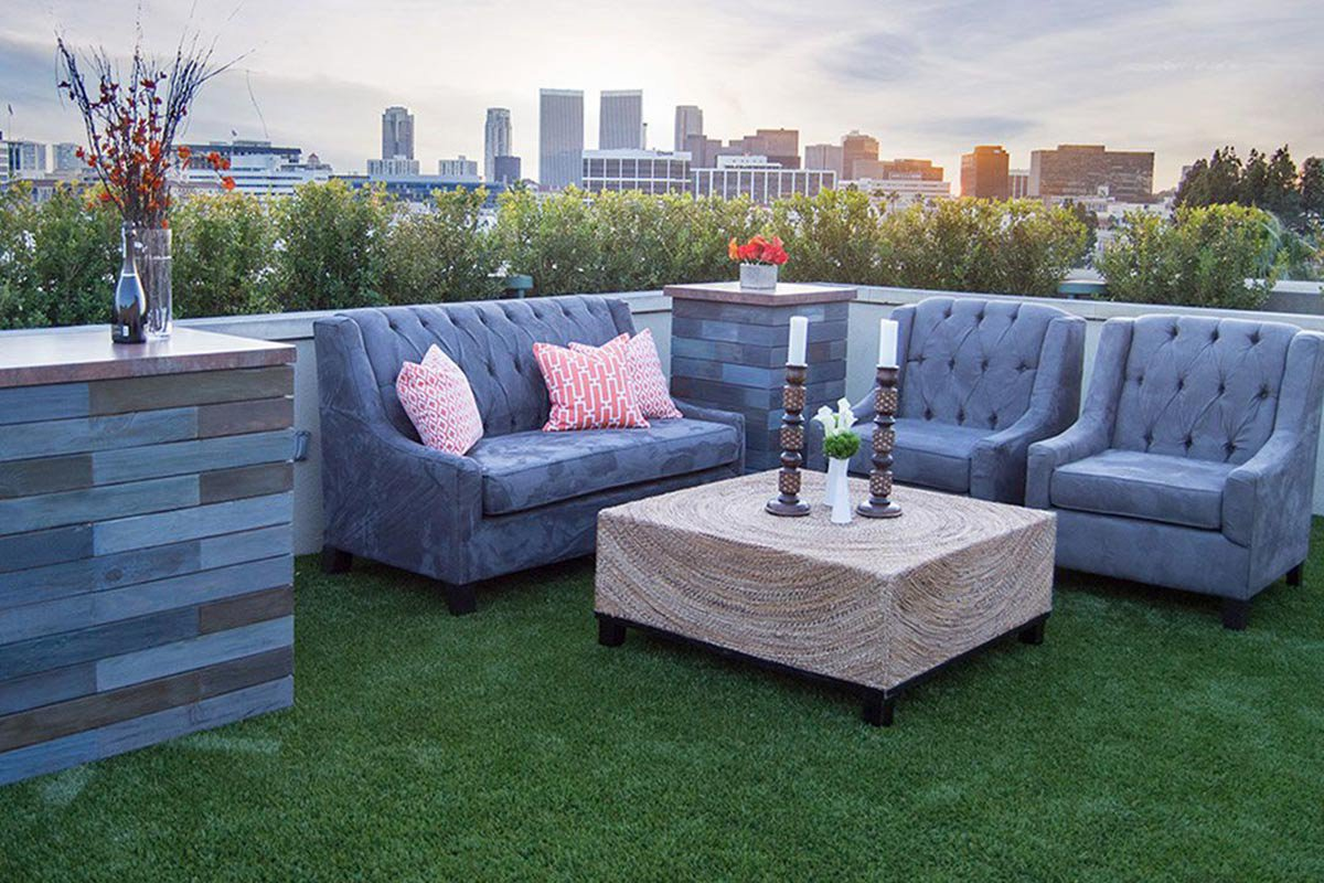 Rooftop cocktail lounge.