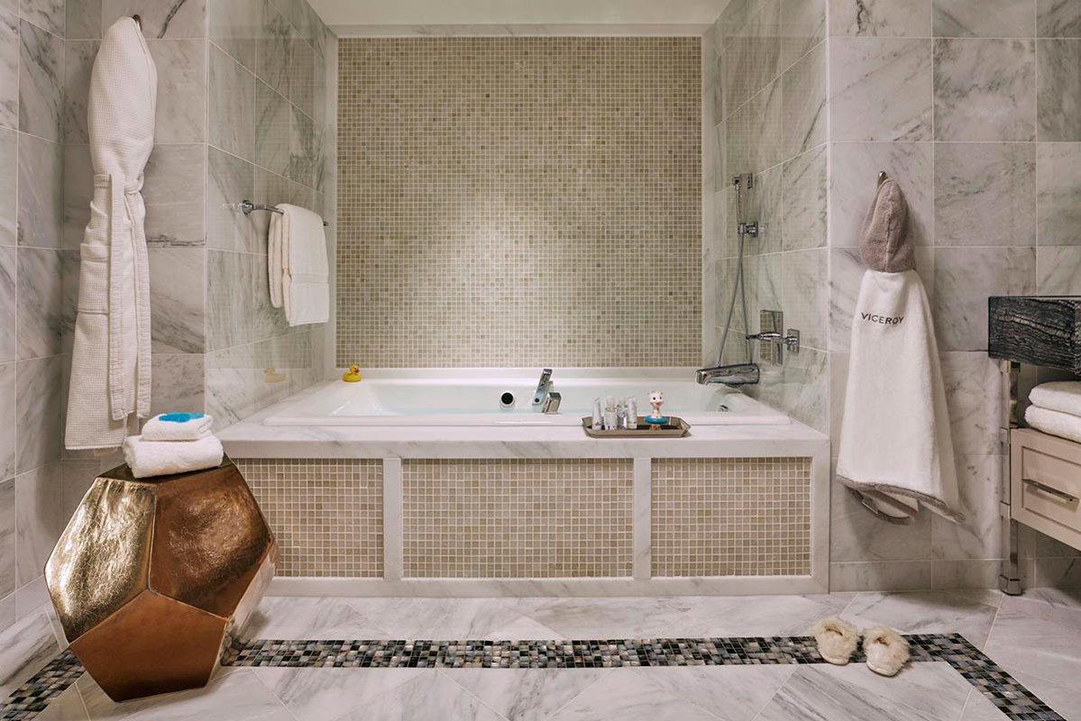 Marble soaking tub.