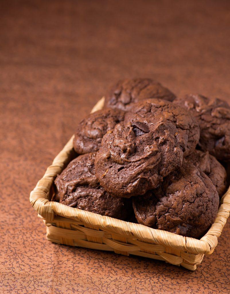 Homemade chocolate cookies in basket