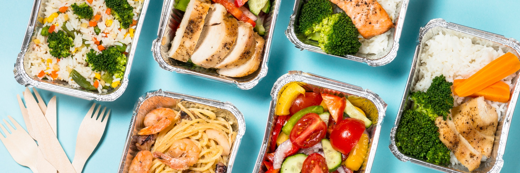 Food delivery concept - healthy lunch in boxes