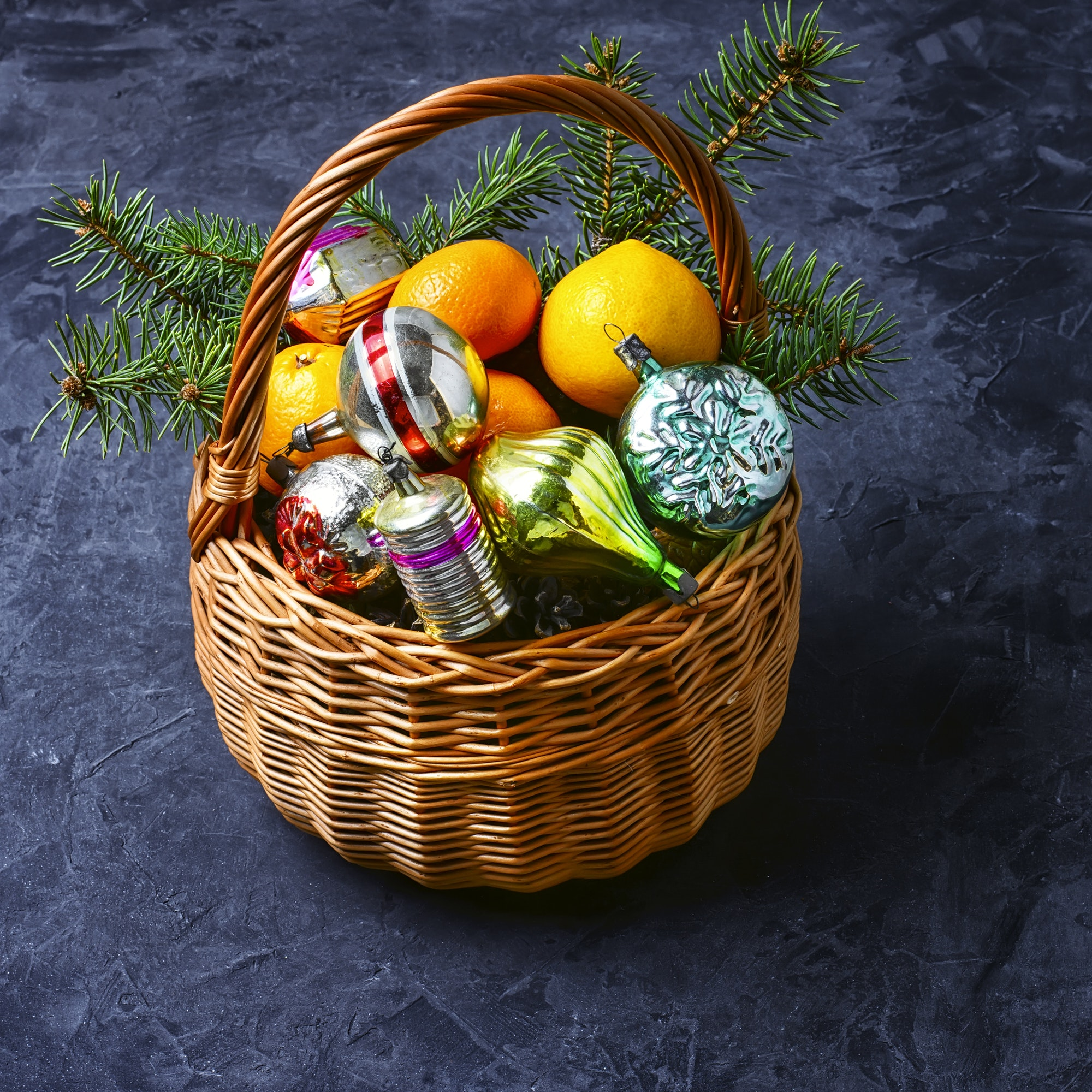 decorated basket for Christmas