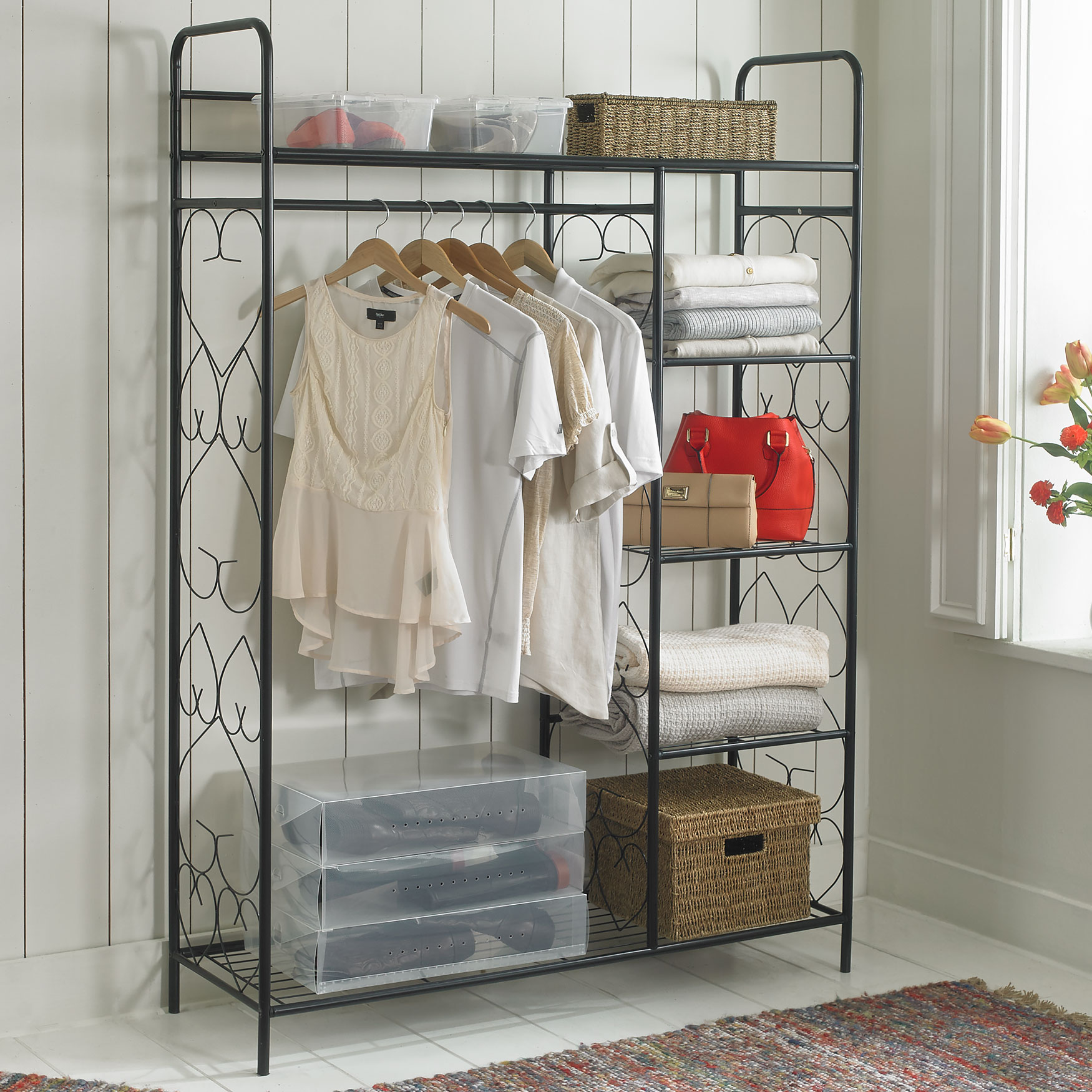 Frosty Mint BrylaneHome 5-Tier Metal Closet with Hanging Rod