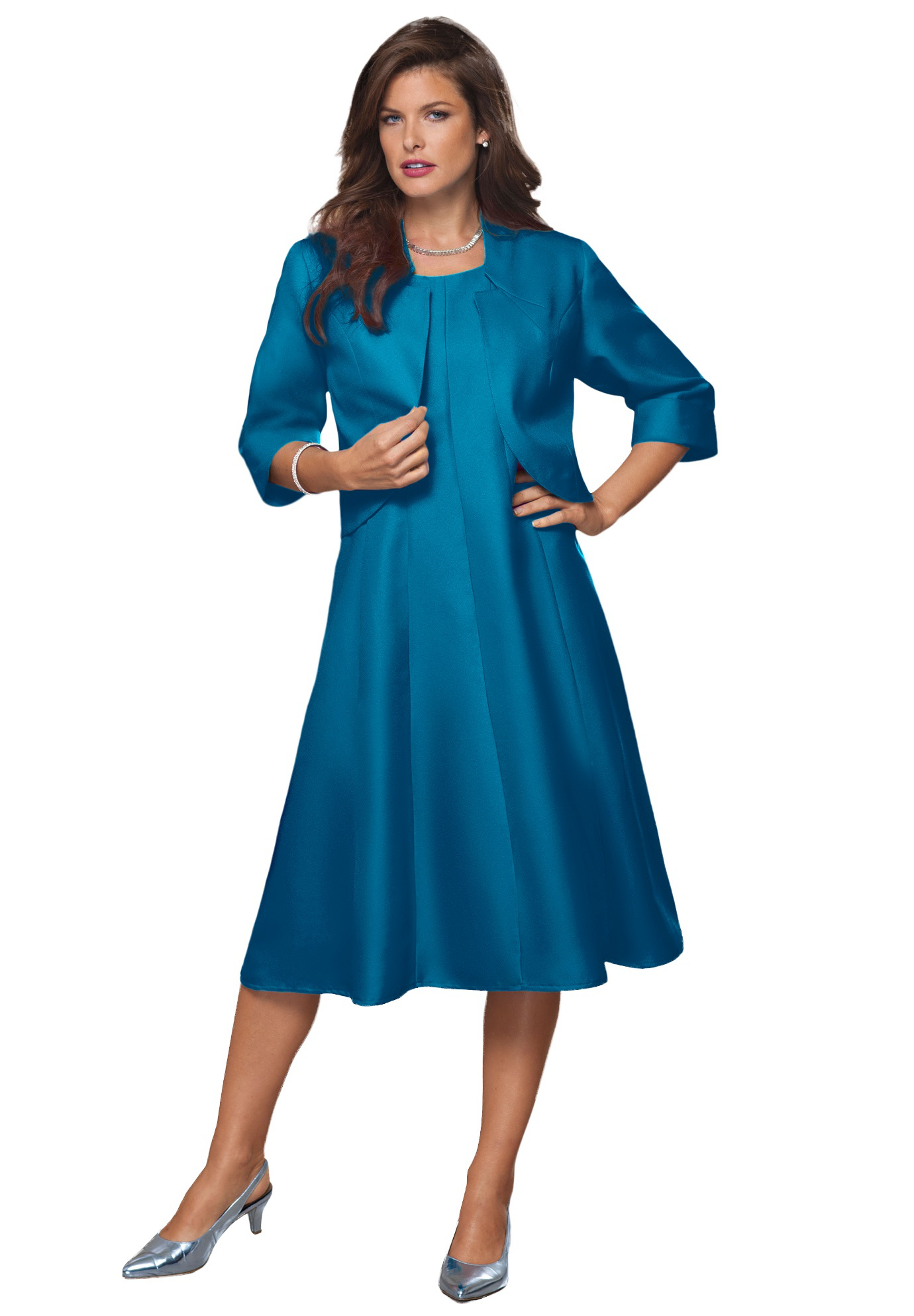 Plus Size Women's Fit-And-Flare Jacket Dress by Roaman's in Peacock Teal (Size 26 W)