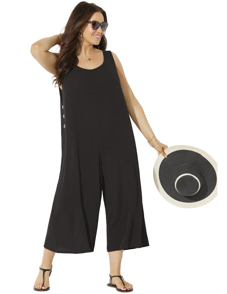 Plus Size Women's Adriana Jumpsuit by Swimsuits For All in Black