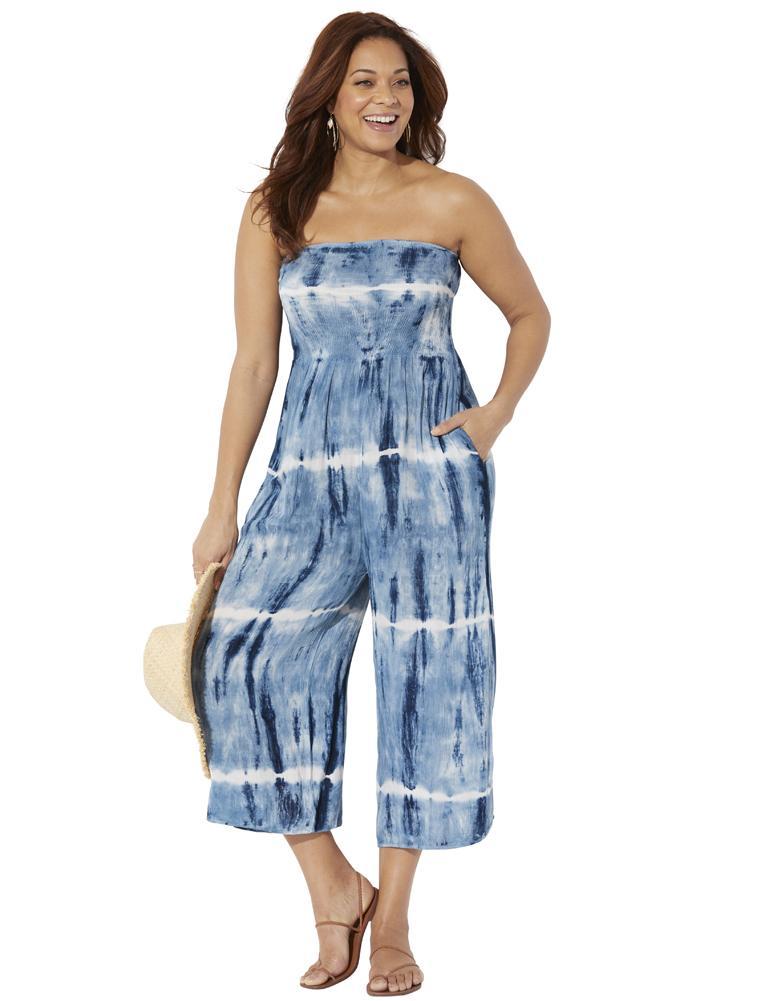 Plus Size Women's Finley Tie Dye Bandeau Jumpsuit by Swimsuits For All in Blue Tie Dye (Size 14/16)