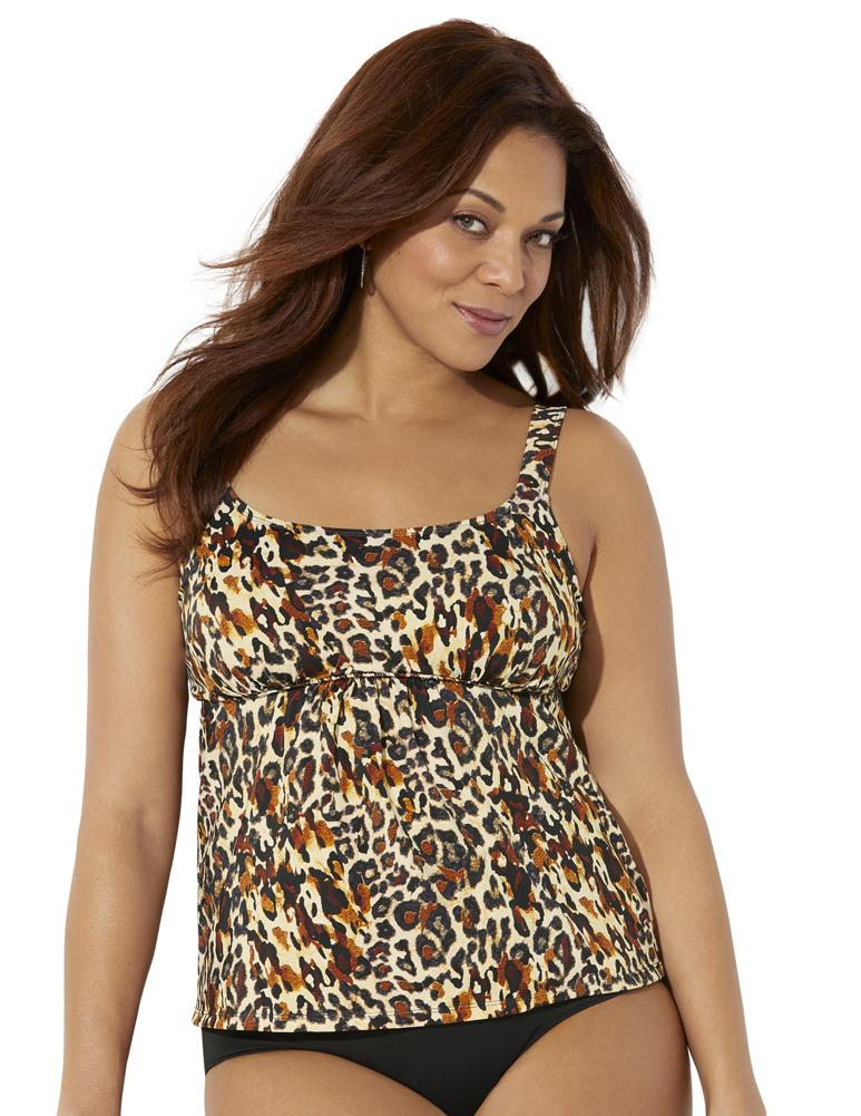 Plus Size Women's Flared Tankini Top by Swimsuits For All in Leopard