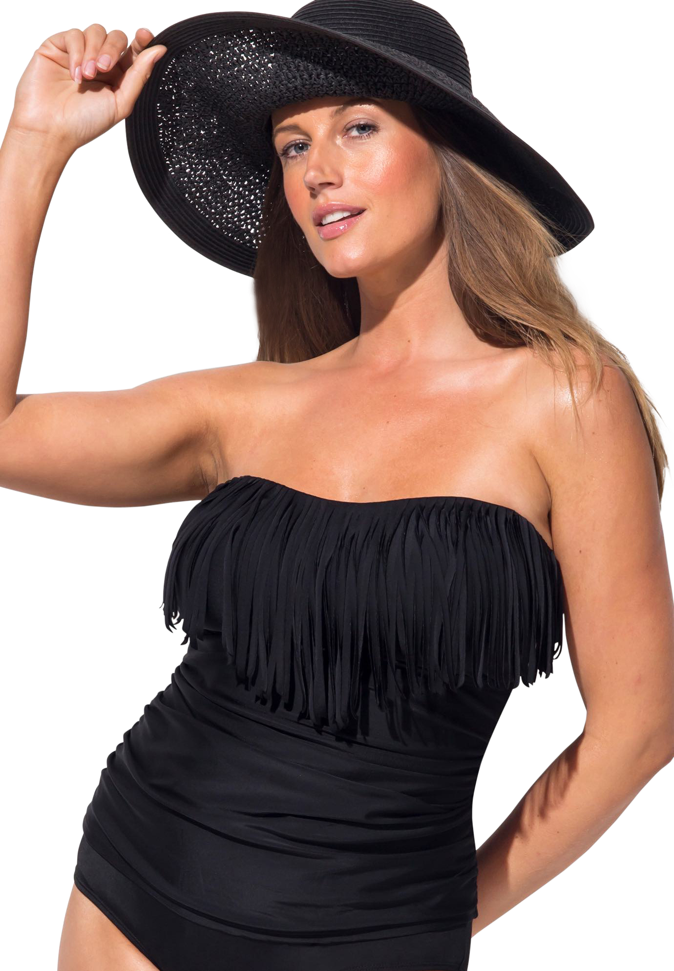 Plus Size Women's Fringe Bandeau Tankini Top by Swimsuits For All in Black