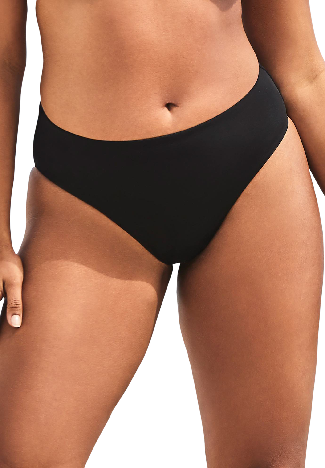 Plus Size Women's Ashley Graham Fearless High Waist Bikini Bottom by Swimsuits For All in Black